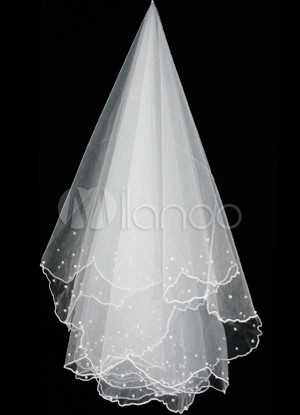 Beautiful Beige Single Yarn Organza Wedding Bridal Veil