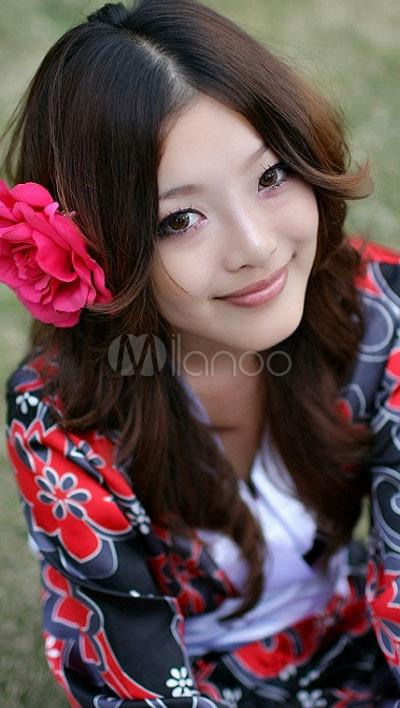 Black And Red Floral White Sash Long Sleeves Kimono Sexy Dress