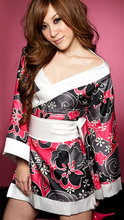 Black And Red Floral White Sash Long Sleeves Kimono Sexy Dress