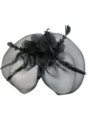 Elegant Black Feather Wedding Bridal Veil
