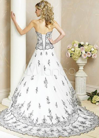 Fabulous White Aline Satin Navy Blue Lace Wedding Dress