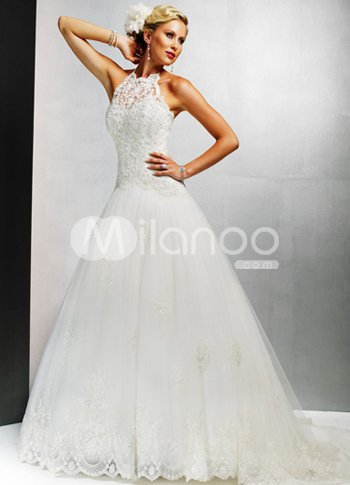 Halter A Line Sweep Satin Lace Wedding Dress 165 99