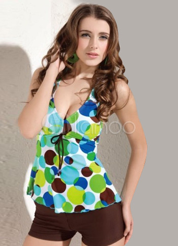 Verde y caf spandex pantie vestido de ba o de dos piezas for Piezas sanitarias para banos