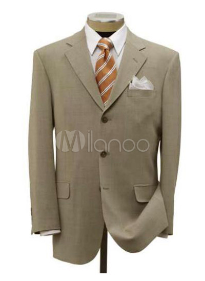Nice Ivory Single Breasted Button Worsted Groom Wedding Tuxedo