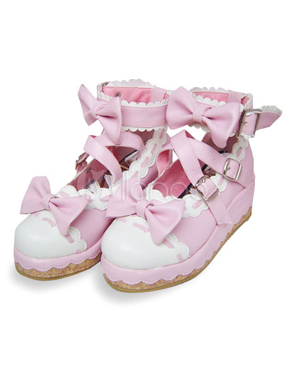 Pink  White Saddle Shoes on Pink And White 2 1 5  Heel 1  Platform Bow Pu Lolita Shoes