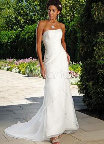 Slim white strapless sheath sweep chiffon wedding dress for Slim white wedding dresses