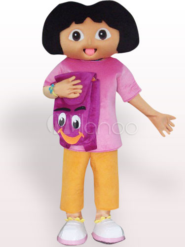 Solid Black Face Dora Plush Adult Mascot Costume