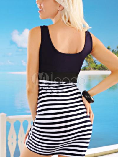 Summer Black And White Zebra Lycra Club Wear Short Dress