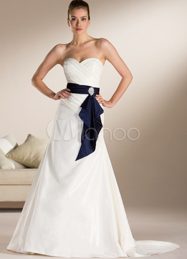 White a line strapless sweetheart blue sash sweep satin for Blue sash for wedding dress