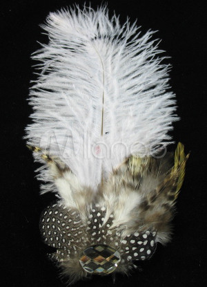 White Feather Wedding Bridal Hairpin