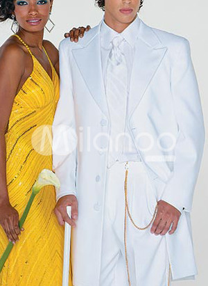 White Full Length Single Breasted Button Lapel Worsted Groom Wedding Tuxedo