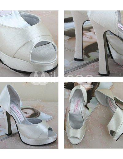High Heeled Wedding Shoes on High Heel White Platform Satin Peep Toe Wedding Shoes   Milanoo