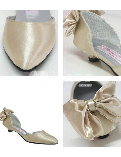 Champagne Shoes Wedding On Sch Ne Champagner 1 5 Heel Satin Brautschuhe Milanoo Com