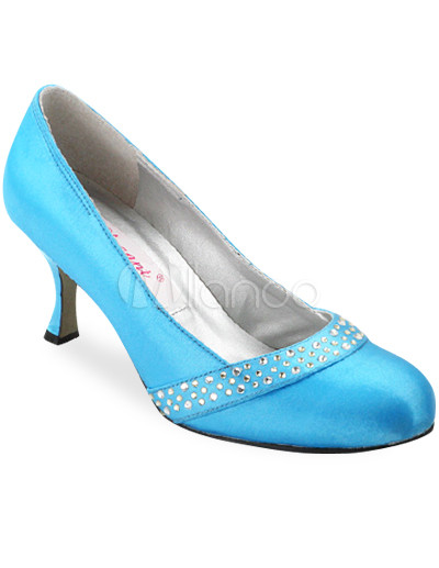 Size Bridal Shoes on Blue 1 3 5   Heel Rhinestone Satin Wedding Shoes   Milanoo Com