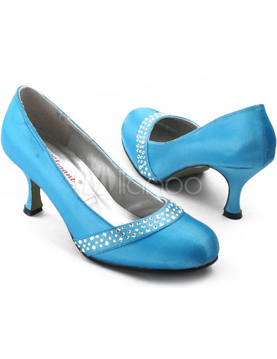Rhinestone Bridal Shoes on Blue 1 3 5   Heel Rhinestone Satin Wedding Shoes   Milanoo Com