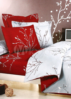 4-pc Red Jacquard Floral Satin Drill Cotton Satin Duvet Cover Bedding Set