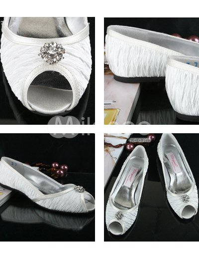 Wedding Shoes Peep  on White Flat Peep Toe Pleated Satin Wedding Shoes   Milanoo Com
