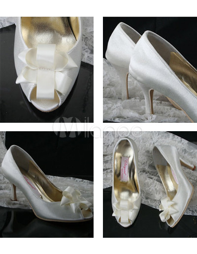 Ivory Open Toes Bow 2 4 5'' Heel Wedding Shoes