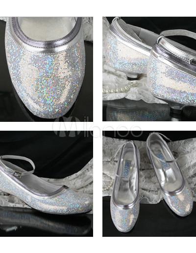 Ankle Strap Wedding Shoes on Shinny Silber 1 5 1  Heel Ankle Strap Pu Brautschuhe   Milanoo Com