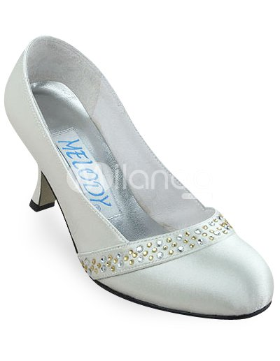 Black Satin Wedding Shoes on Ivory 2 4 5    Heel Rhinestone Satin Wedding Shoes