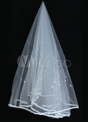 Elegant Ivory Net Satin Wedding Bridal Veil