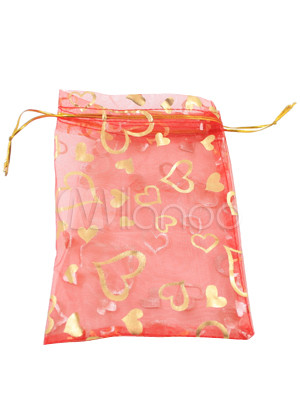 red transparent tissue wedding candy bag
