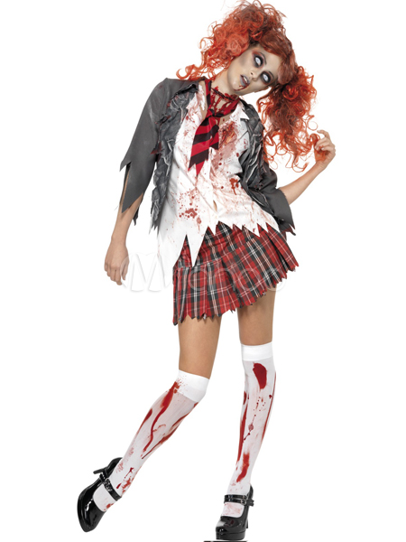 Zombie School Girls Uniform Scary Halloween Costume
