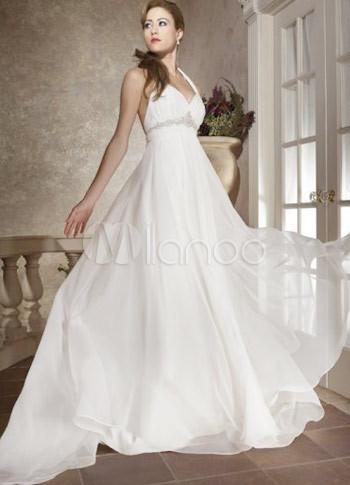 White halter satin and chiffon empire waist v neck wedding for Halter empire waist wedding dresses