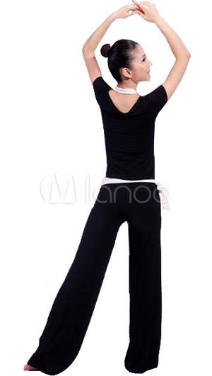 black and white cotton lycra halter yoga kleidung. Black Bedroom Furniture Sets. Home Design Ideas