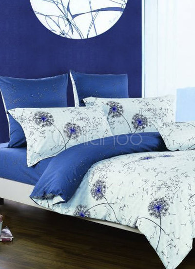Asian Comforter Sets on Comfortable Blue Floral Cotton Duvet Cover Bedding Set   Milanoo Com