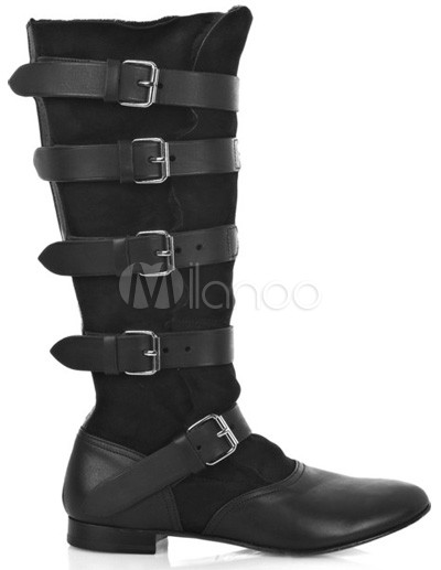 Women Fashion Shoes on Cool Black Cow Leather Women   S Fashion Boots   Milanoo Com