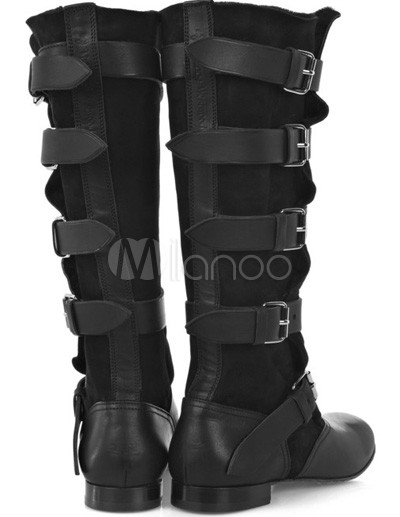 Military Boots Fashion  Women on Cool Black Cow Leather Women   S Fashion Boots   Milanoo Com