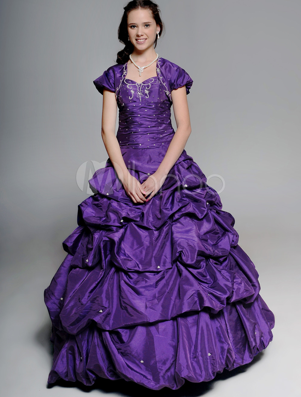 Deep Grape Sweetheart Strapless Beading Embroidery Taffeta Ball Gown Dress