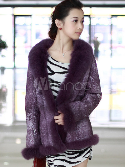 Elegant Purple Long Sleeves Fox Fur Collar Ladies Fur Coat