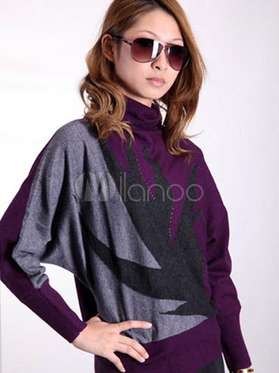 Elegant Purple 100% Roll Neck Cashmere Ladies Pullover ... - photo#22