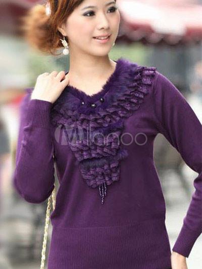 Elegant Purple V-Neck 100% Cashmere Ladies Pullover ... - photo#24
