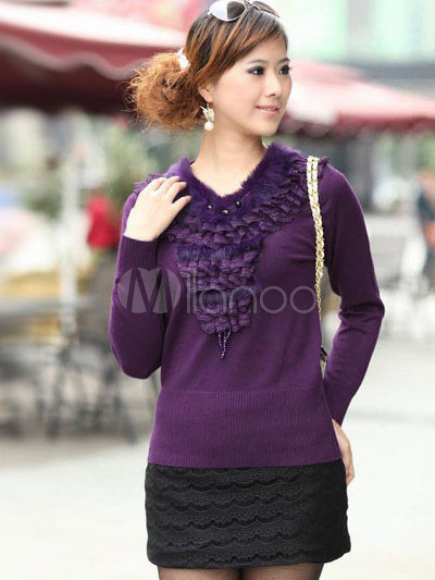 Elegant Purple V-Neck 100% Cashmere Ladies Pullover ... - photo#42