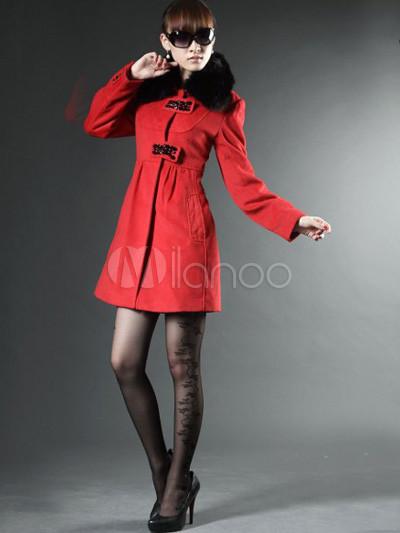 fabulous roter wolle fox pelzkragen damen mantel. Black Bedroom Furniture Sets. Home Design Ideas