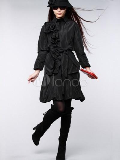 Cheap Fashion Shoes  Women on Fashion Black Long Sleeves Silk Organza Women   S Overcoat