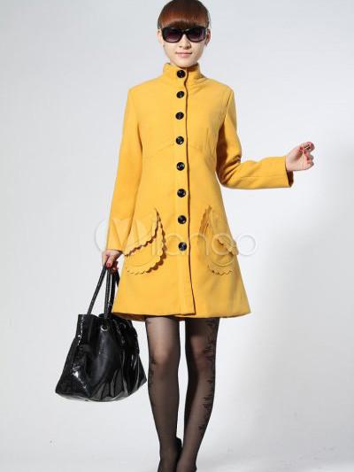 feminine gelb einreiher 70 wolle 30 polyester damen mantel. Black Bedroom Furniture Sets. Home Design Ideas