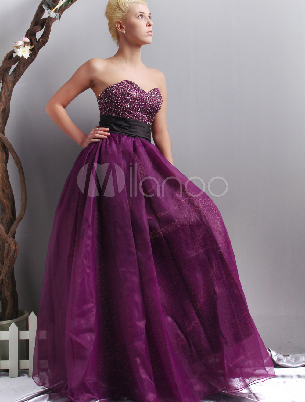 Gorgeous Purple Sweetheart Satin Organza Evening Dress
