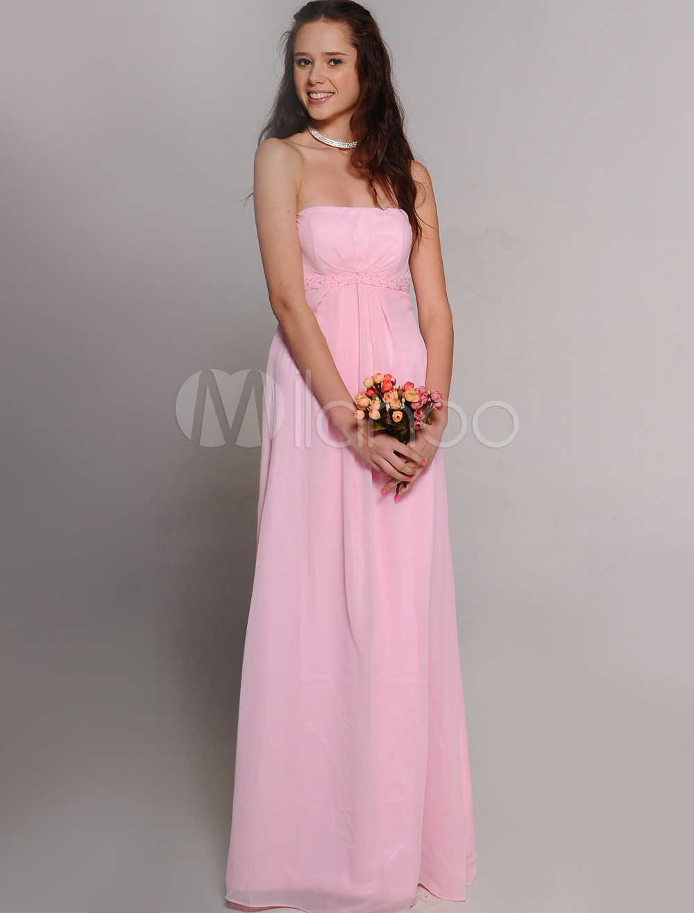 Sheath Strapless Pleated Pink Chiffon Bridesmaid Dress
