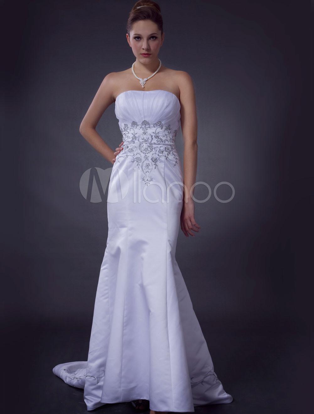 Elegant White Strapless Mermaid Trumpet Beading Embroidery Satin Wedding Dress