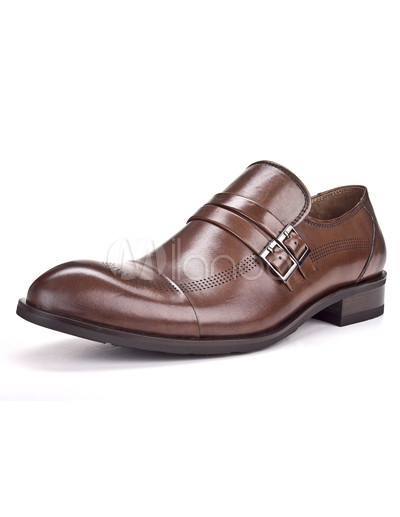 Aokang Cool Brown Buckle Pointed Toe Lacquer light Cowhide Mens Dress Shoes