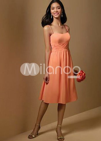 Lovely Spaghetti Tea Length Chiffon Prom Dress
