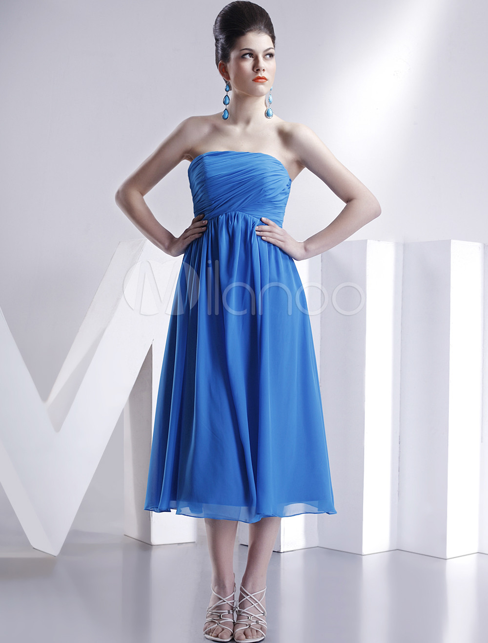 Royal Blue Strapless Empire Waist Satin Chiffon Summer Bridesmaid Homecoming Dress