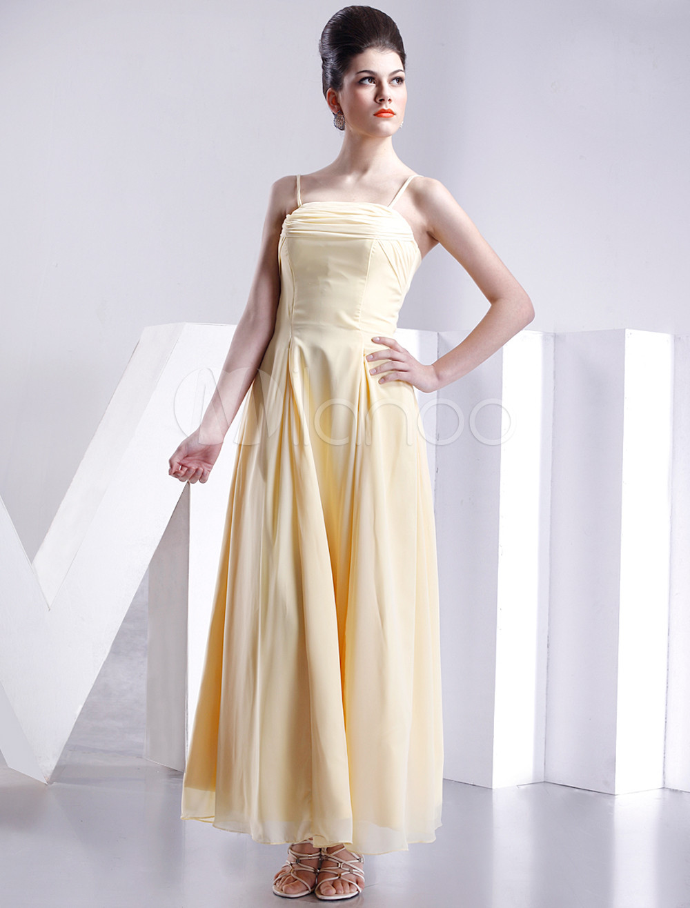 Sheath Spaghetti Straps Daffodil Satin Bridesmaid Dress