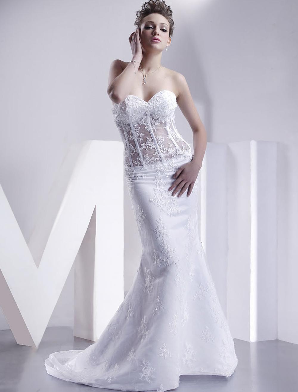 White Wedding Dresses Strapless Mermaid Bridal Dress Lace Applique Sweetheart Neckline Boned Illusion Train Wedding Gown