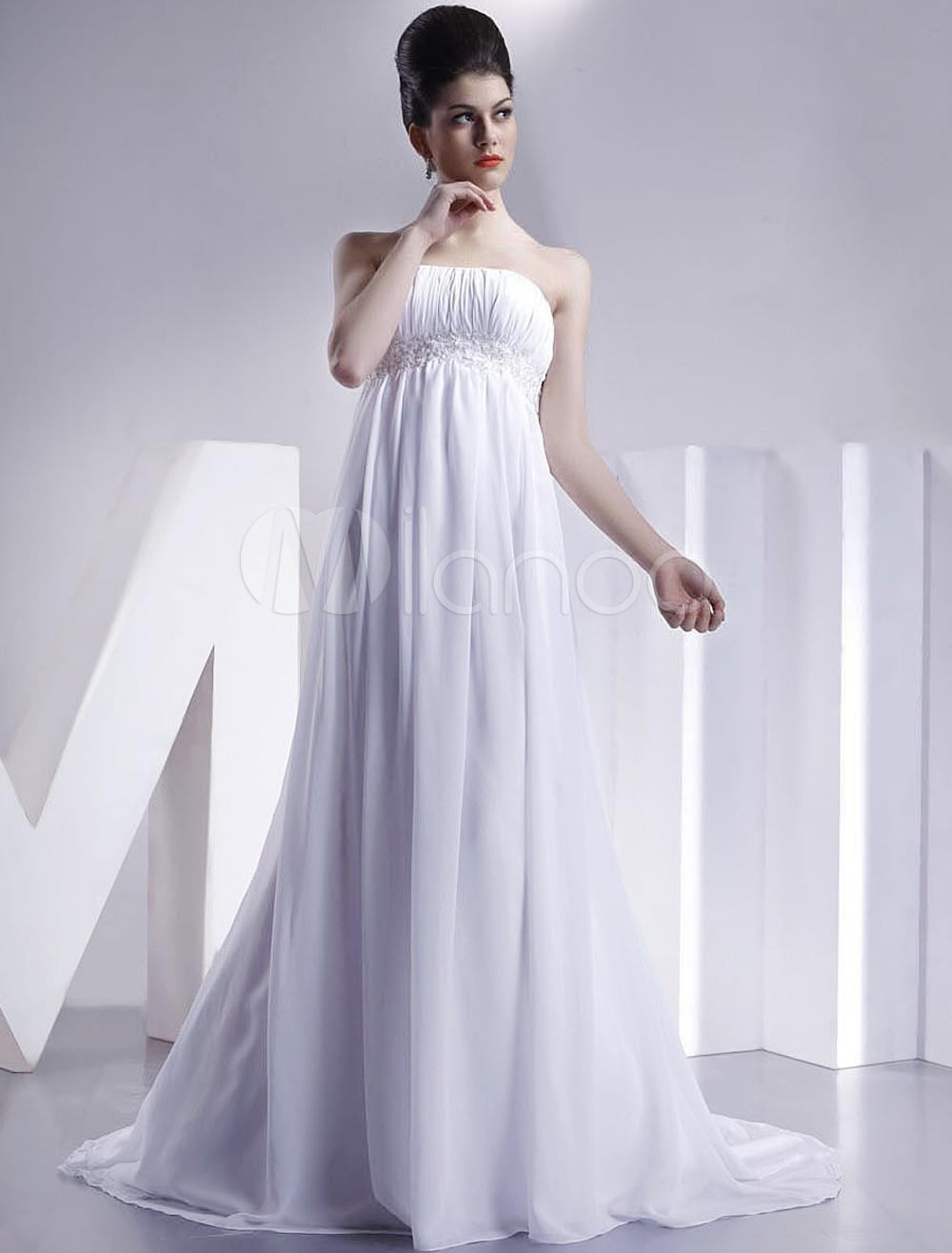 White Empire Waist Sheath Strapless Wedding Dress