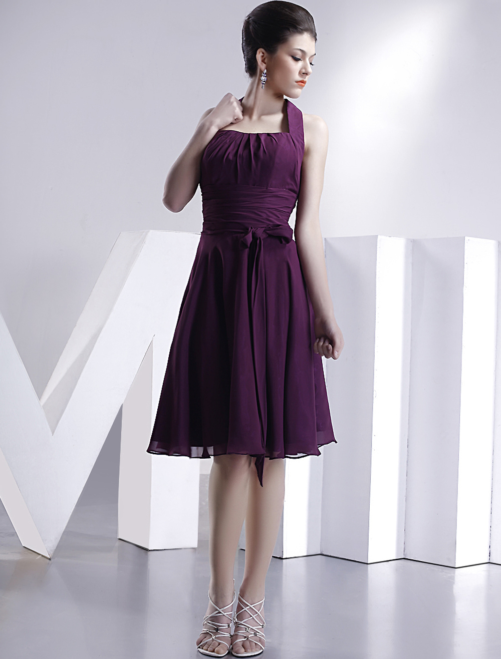 Halter Pleated Bow Chiffon Satin Homecoming Dress